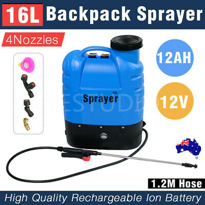 16L Electric Backpack Weed Sprayer Rechargeable Farm Garden Pump Spray Battery