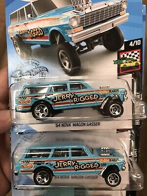 HOT WHEELS 2019 HW RACE DAY '64 NOVA WAGON GASSER CASE K New Model! Lot Of 2