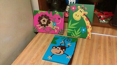 (3) Preschool Canvas Wall Pictures,lion,monkey,giraffe,vg!