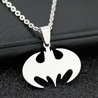 10pcs cool Batman Bat Pendant Stainless steel chain Necklace