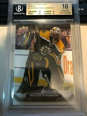 2015-16 UD Canvas Young Guns Rookie Card MALCOLM SUBBAN bgs 10 Boston Bruins