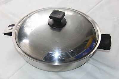 """Vintage Rena Ware 3 Ply 18-8  9 1/2"""" Stainless Steel Sauce Pan with VENTING LID!"""