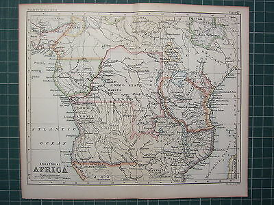 1887 Antique Map ~ Equatorial Africa Angola Unyamwesi