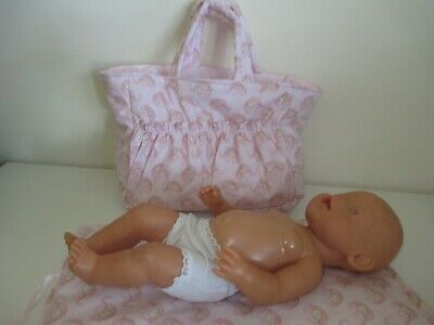"Dolls Nappy Bag & Change pad, "" Pink Elephants """