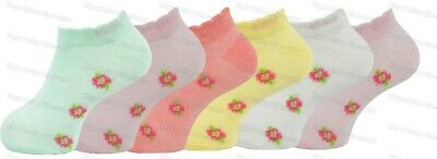 Girls Trainer Socks Childrens Kids Shoe Liners Rose Design Cotton Rich 6 Pairs