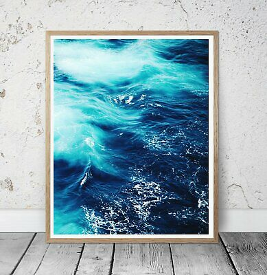 Beach Blue Ocean Abtract Wall Art Poster Print. Perfect For Home/Office Decor