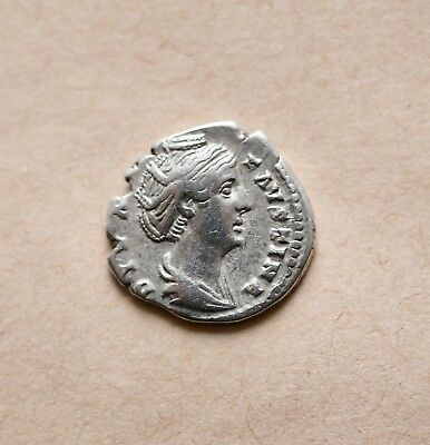 SILVER DENARIUS OF DIVA FAUSTINA I (died AD 140-141). Rome. Excellent coin!