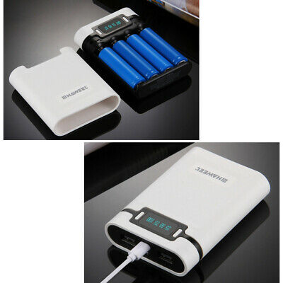 Portable Power Bank for iPhone Android 18650 Rechargeable Battery White LD1813