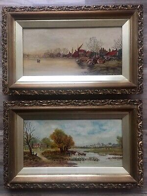 Early 20th Century Pair Of Oil Paintings On Canvas Signed Dated Gilt Frames