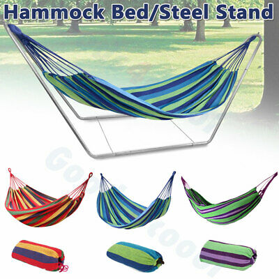 Portable Garden Hammock with Sturdy Steel Stand Travel Camping Swing Bed Outdoor
