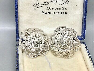 Vintage Sterling Silver Filigree Round Pierced Earrings