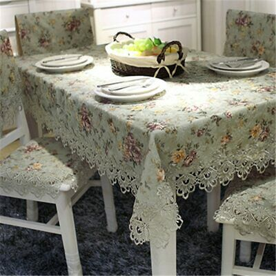 Floral Embroidered Lace Crochet Tablecloth Elegant Home Decoration