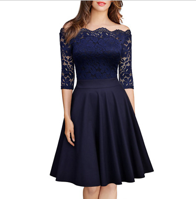 Women Lace Long Sleeve Cocktail Prom Gown Party Evening Skater Dress Size AU8-18