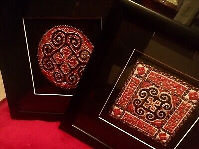 2 Framed Needlework Tapestry Middle Eastern Black Frame 26cm Square Art Picture