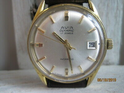 Vintage 60's AVIA 'Olympic' Swiss Made Gold Plated Gents Mechanical Watch.
