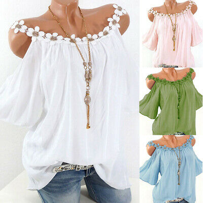 Womens Floral Cold Shoulder Loose Tops Ladies Summer Strappy T Shirt Blouse UK