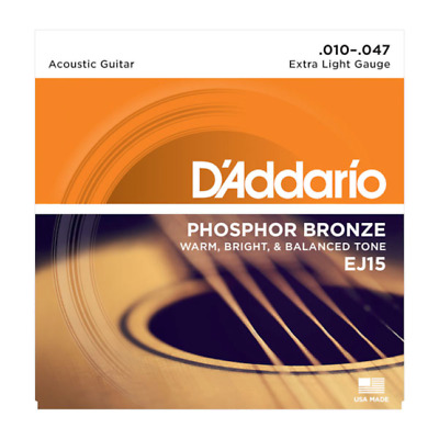 D'Addario EJ15 Acoustic Guitar Strings Full Set Extra Light Gauge 10-47