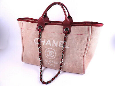 0db323fc88f1 CHANEL Deauville 2way Chain Shoulder Tote Bag Canvas Red Silver A66941  A-9551