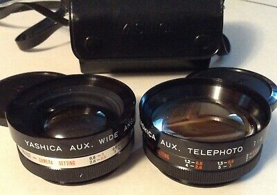 Yashica lens Conversion Set Aux Wide Angle 1:4 & Telephoto1:4 caps and case