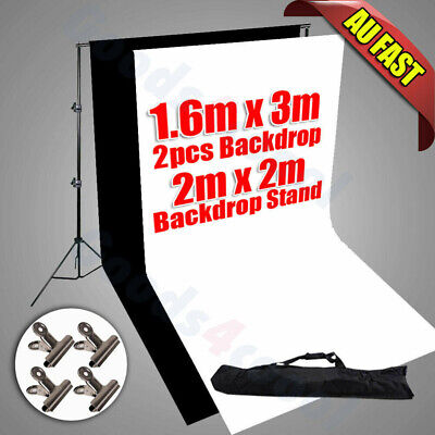 2x3M Photograph Black White Backdrop Screen Heavy-duty Stand Support Studio KIT