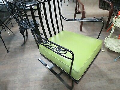 Woodard Wrought Iron Outdoor Club Spring Chair Orleans pattern