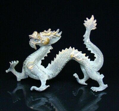 Old Collectible Bronze Handmade Carved Gild Dragon Statue