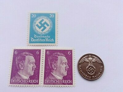Rare Nazi Germany swastika coin and hitler stamp set ww2 third reich world war 2