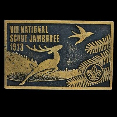 Vtg Bsa National Boy Scout Scout Jamboree America Deer Brass 1973 Belt Buckle