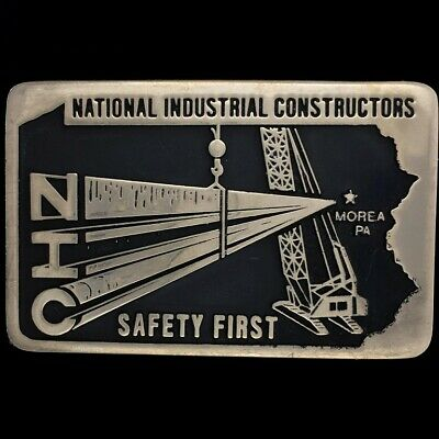 Vtg 80s National Industrial Contractor Construction Crane NOS Brass Belt Buckle