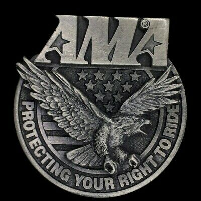 Vtg AMA Protecting Your Right Ride Eagle American Flag Pewter NOS Belt Buckle