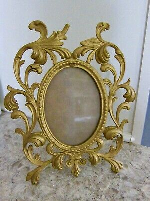 Cast Iron Brass Tone Art Nouveau Ornate Oval Stand Up Picture Frame Photo