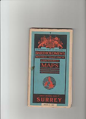 Barts Map 9 as Ordnance Survey Surrey 1950 Inc. London, most. Romford, Henley