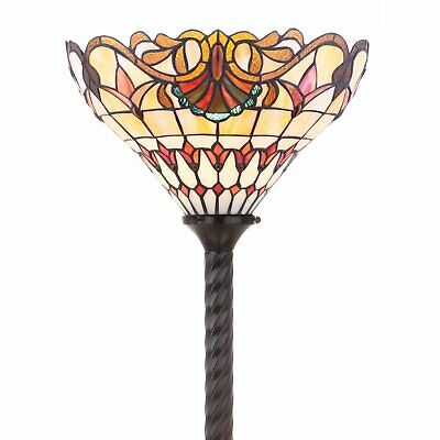 Tiffany Style Vintage Reading Floor Lamp Torchiere Multicolor Stained Glass