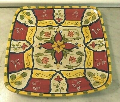 """PIER 1 VALLARTA 13"""" SQUARE SERVING PLATTER Handpainted RED YELLOW BLUE FLORAL"""