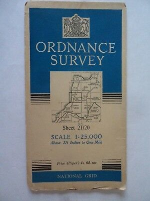 "Ordnance Survey 2.5"" Map 21[SS]20 Bude 1950 Stratton Widemouth Maer Down railway"