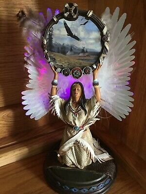 Native American Indian Woman Angel Figurine kneeling w/Lighted Wings 10.5""