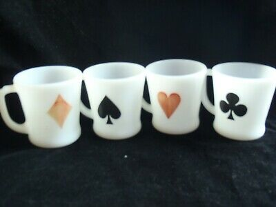 Fire King Coffee Mugs Cups Vintage Cards Poker Anchor Hocking **Set 4**