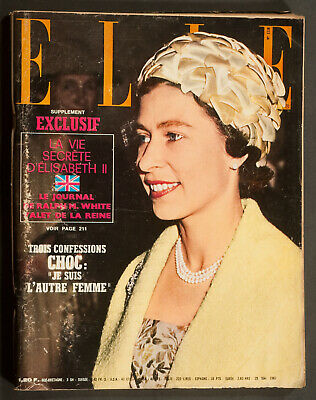 'Elle' French Vintage Magazine Queen Elizabeth Cover 25 May 1967