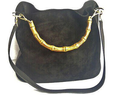 973d8fa809 Gucci Authentic Vintage Black Leather Suede Bamboo Vintage 2way Hobo Tote  Bag