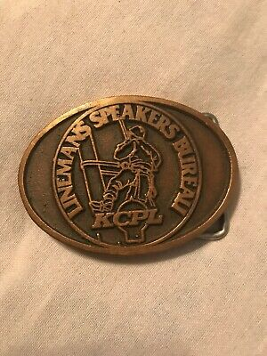 KCPL Lineman's Speakers Bureau Brass Belt Buckle