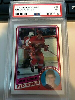 1984-85 OPC O-Pee-Chee STEVE YZERMAN Rookie Card # 67 Detroit Red Wings PSA 7