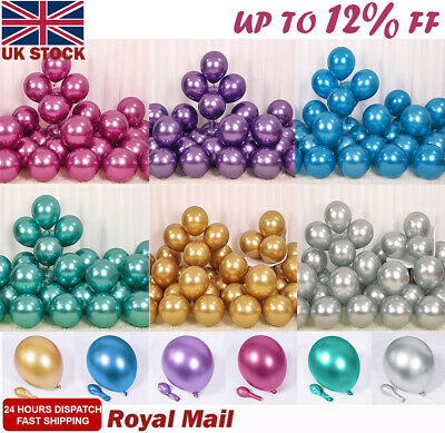 "10-100 X Latex Pearl Metallic BALOON 12"" BALLONS Helium BALLOON Quality Party UK"