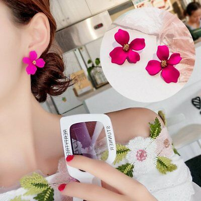 Fashion Boho Painting Big Flowers Ear Stud Earrings Women Charm Jewelry Party