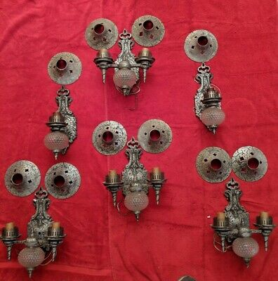 REDUCED Antique Tudor Wall Sconces, 4 w/ two arms, 2 w/ one arm All Working, VGC