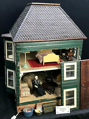 """Victorian Style DOLLHOUSE w/ FURNITURE - """" 1900s New Jersey Farm House """" antique"""