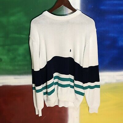 VTG 90s POLO BY RALPH LAUREN KNIT COLOR BLOCK SWEATER PULLOVER SIZE LARGE RARE