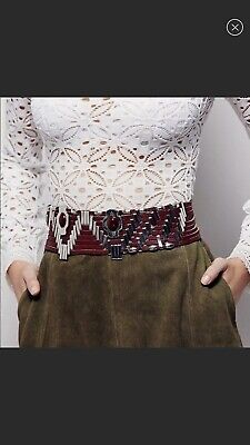55317b304 NEW Free People Marfa Brown Leather Corset Belt Size Small Medium