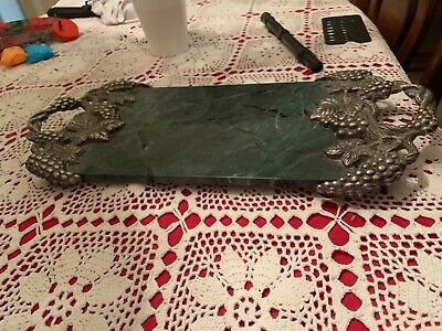 Vintage Godinger Silver Plated Grape Vine Green Marble Plate