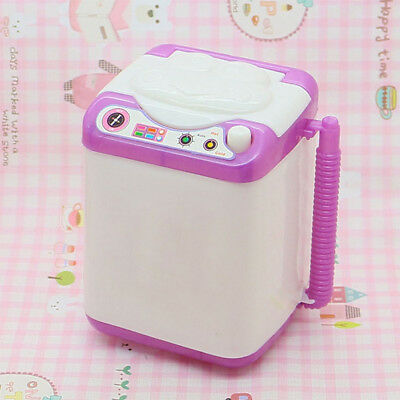 TH_ HK- Silicone Mini Washing Machine Toy Doll House Furniture Gift Accessory Fa