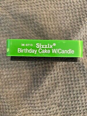 Sizzix Original Small Green  Birthday Cake w/Candle Scrapbooking Die 38-0713